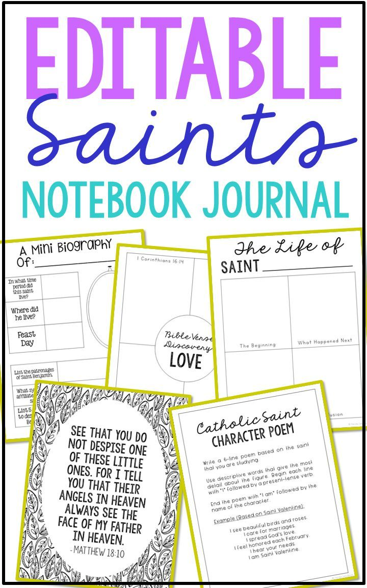 editable catholic saints notebook journal project | relaxed