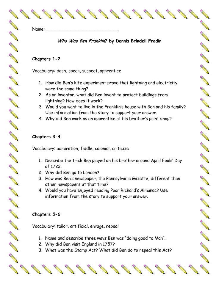 15 best 1st Grade Reading Street Benjamin Franklin images on – Ben Franklin Worksheets