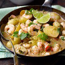 Curry van aardappelen en garnalen
