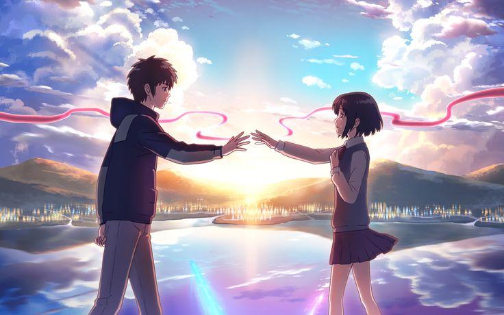 Anime Your Name.  Mitsuha Miyamizu Kimi No Na Wa. Taki Tachibana Fondo de Pantalla
