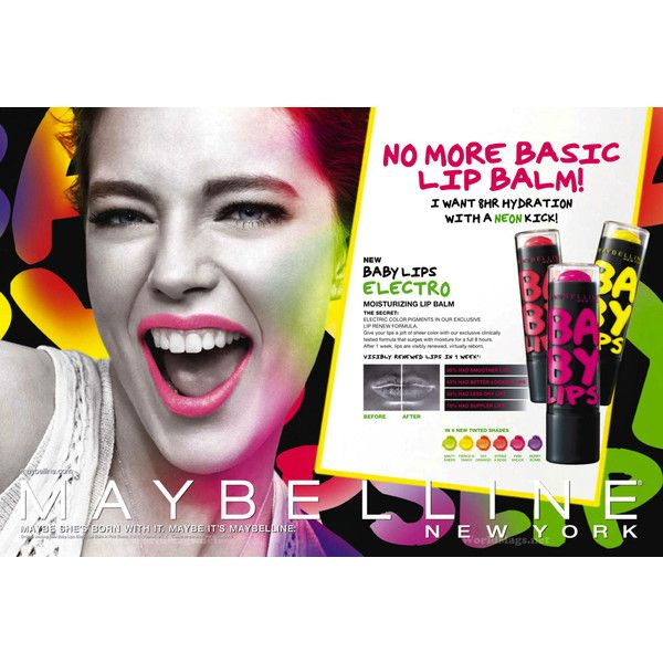 Maybelline Baby Lips ELECTRO 2013 - MyFDB ❤ liked on Polyvore featuring ad campaign