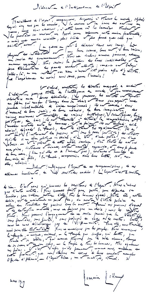 Declaration of the Independence of the Mind: An Extraordinary 1919 Manifesto Signed by Albert Einstein, Bertrand Russell, Jane Addams, and Other Luminaries | Brain Pickings