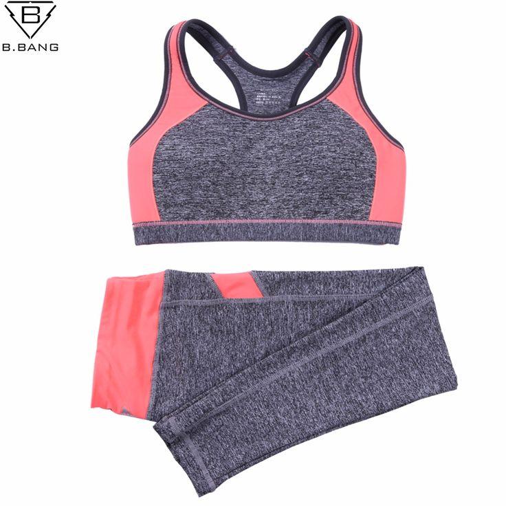 B. BANG Wanita Olahraga Yoga Set untuk Menjalankan Gym Sportwear Olahraga Top Gym Push Up Bra Elastis Capris Kebugaran Tights Suits untuk Wanita