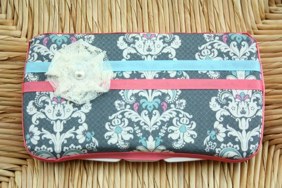 Baby Wipes Case - Stylish and Trendy Baby Wipes Cover - For Girls - Damask Pattern with lace flower - Travel wipes case - Baby wipes cover. $17.00, via Etsy.