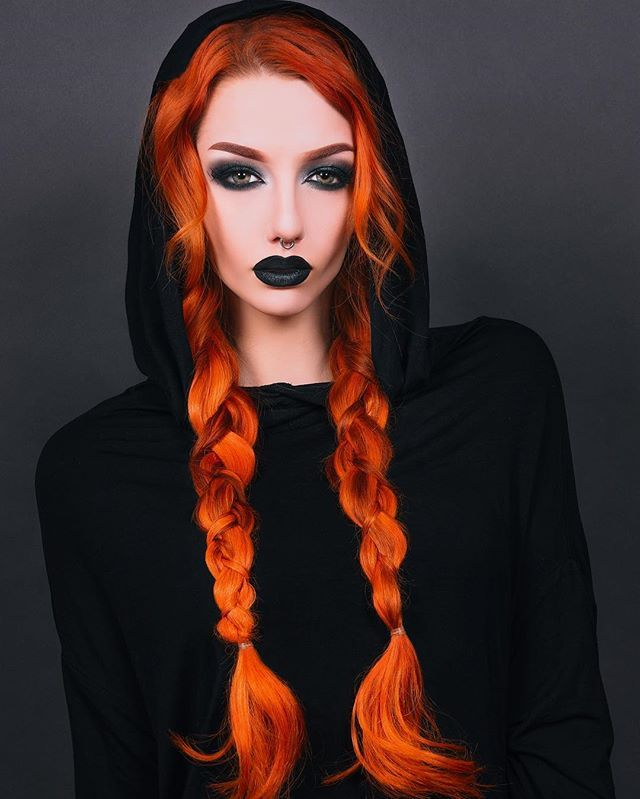 Selfie game so weird, it looks like I took a school picture  wearing the Arcane Ritual hoodie from @killstarco and extensions from @donalovehair #killstar #donalovehair #hair #orangehair