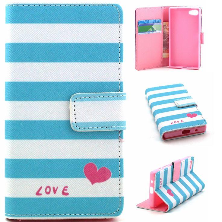 Синие полосы в форме сердца любовь дизайн искусственная кожа флип бумажник стенд бумажник чехол для Sony Xperia Z5 / Z5 мини E5823 E5803
