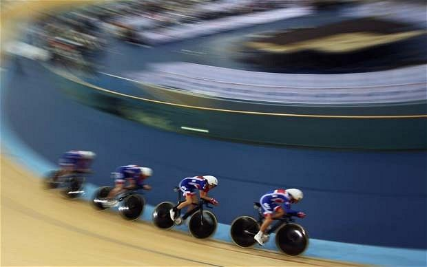 Fast show: The Great Britain men's pursuit team in action at the London Olympic velodrome Photo: GETTY IMAGES