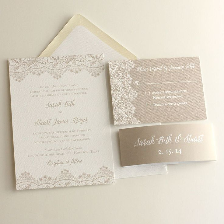 Romantic vintage lace wedding invitation printed in champagne color.