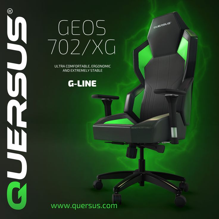Geos 702/XG  The QUERSUS GEOS is a strikingly new form setting a new trend in computing chairs. A vision of the future in black with a hint of green. Supplied with a matching headrest cushion.