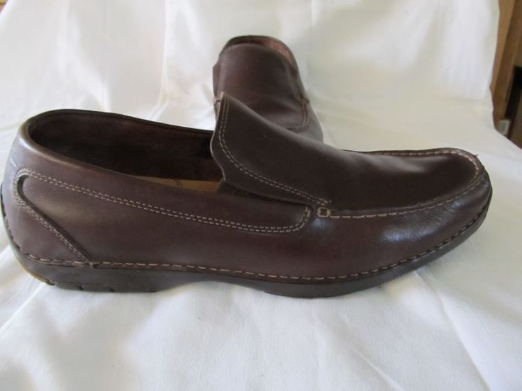 Men's Rockport brown leather classic slip ons mocs loafers sz 13M Sharp