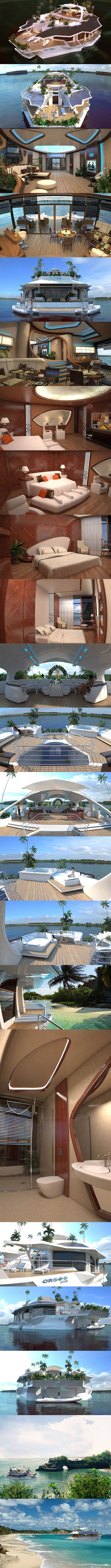 Orsos Islands is a luxury floating island that has the ability to be moved and re-anchored. While it has the vague resemblance of a boat, it's more of a fancy platform than anything. Just amaZING.