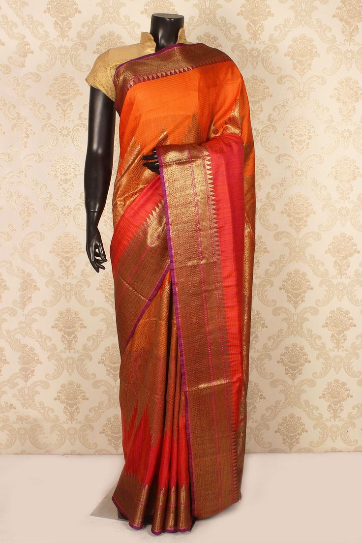 #Orange & tomato #red pure #banarasi silk admirable #saree with zari weaved pallu -SR15427