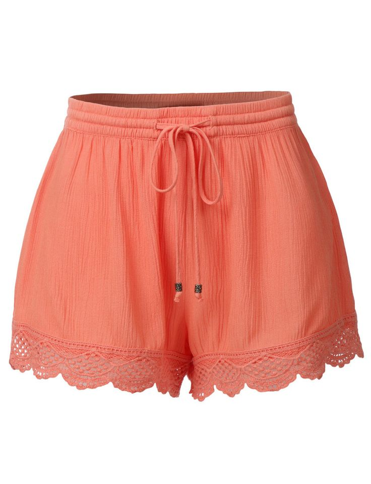 LE3NO Womens Casual Lightweight Loose Elastic Waist Shorts