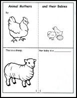 Animals - mini book (mothers and their babies - fill in blanks and draw illustrations)