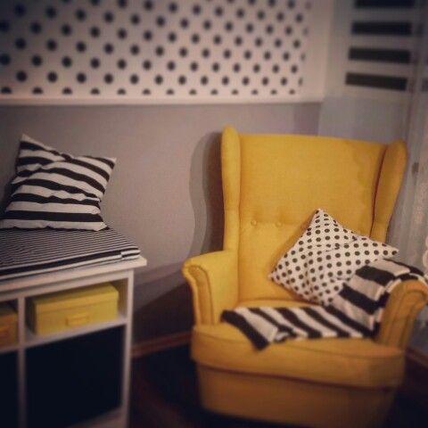 Strandmon Armchair Ikea striped spotted room