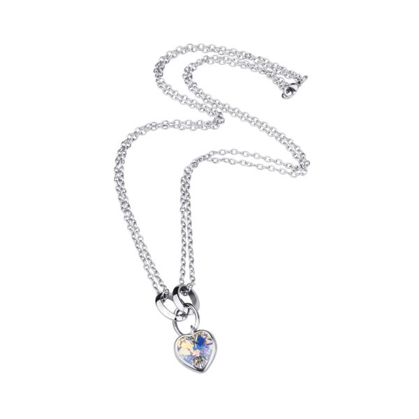 Double Stainless Steel Chain Necklace with Crystal Heart.