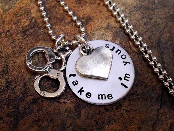 Handcuff Necklace, Hand Cuff Jewelry, Personalized Jewelry, Police Jewelry, Law Enforcement Jewelry, Hand Stamped Jewelry on Etsy, $23.00