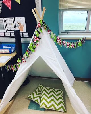 My classroom tepee and other fun reading spot ideas you can use in the classroom!