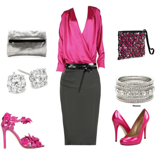I love pink outfit, created by shepoole on Polyvore: Women Fashion, Outfit Sets, Women Apparel, Pink Outfits, Green Outfit, I'M, Shepool, Create, Work Attire