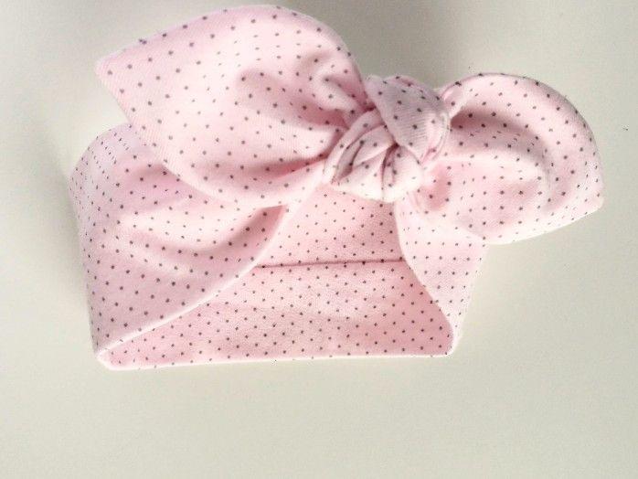 Bawełniana opaska pin-up róż szary kropki - MadebyKaza - Opaski dla niemowląt