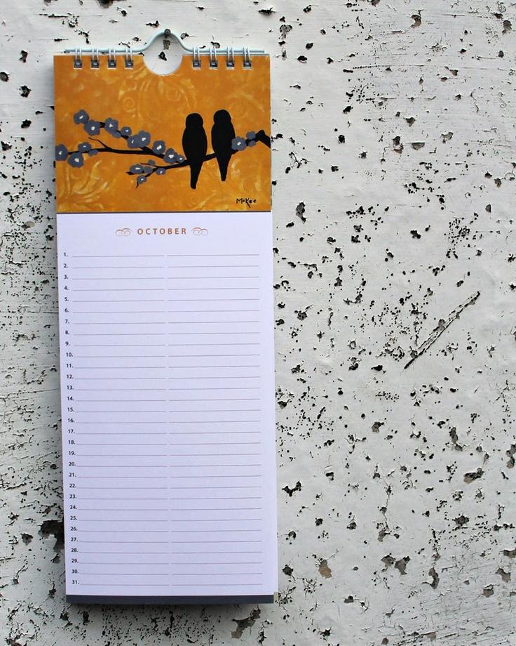 Birthday Calendar, Bird Art, Cottage Wall Decor. $12.00, via Etsy.