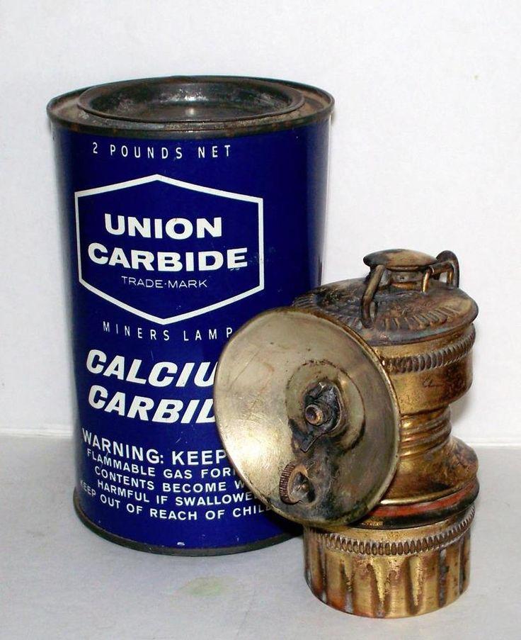Vintage Brass Shanklin Miners Lamp 2 lbs Tin Union Carbide Calcium Carbide Full #ShanklinUnionCarbide