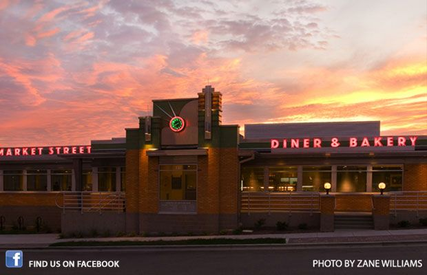 Market Street Diner at Dusk - family friendly diner in Sun Prairie if we stay out that way