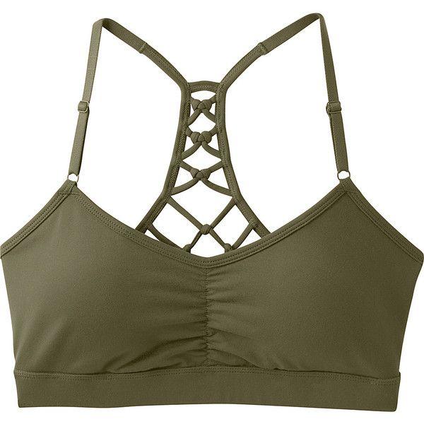 PrAna Elixir Bra - XS - Cargo Green - Underwear ($49) ❤ liked on Polyvore featuring activewear, sports bras, green, racerback jersey, racer back sports bra, green jersey, green sports bra and white sports bra