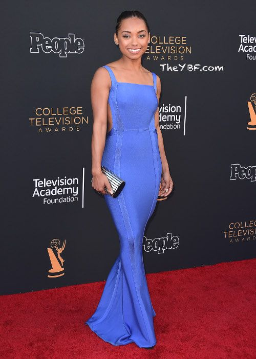 """Logan Browning, who plays a college student in the """"Dear White People"""" Netflix series, popped up on the red carpet before presenting an award. The """"Hit The Floor"""" actress looked stunning in a blue mermaid style gown that featured a cut-out back."""