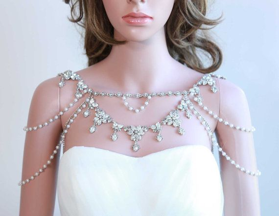 Shoulder Necklace, Bridal necklace,Pearl Lariat, Epaulettes Necklace, Rhinestone Necklace, Draping Necklace, Wedding Necklace
