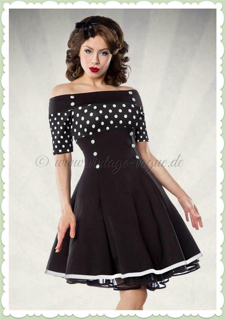 Belsira 50er Jahre Rockabilly Petticoat Punkte Kleid -Polka Dots- Schwarz