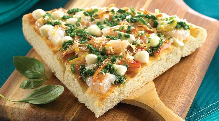 Pizza épicée aux crevettes et à l'ail avec Bocconcini Tre Stelle®