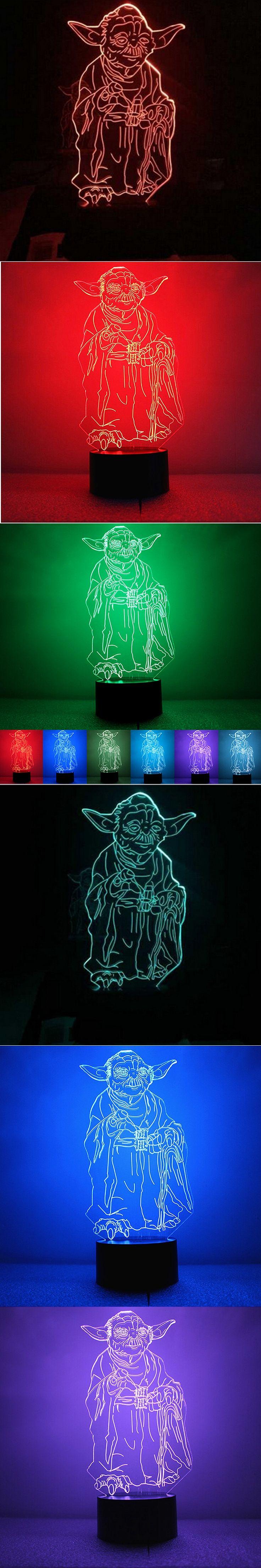 3D Bulb Led Light Master Yoda Night Lamp 7 Colors Changeable Table Light Desk Lamp for Kids Gifts
