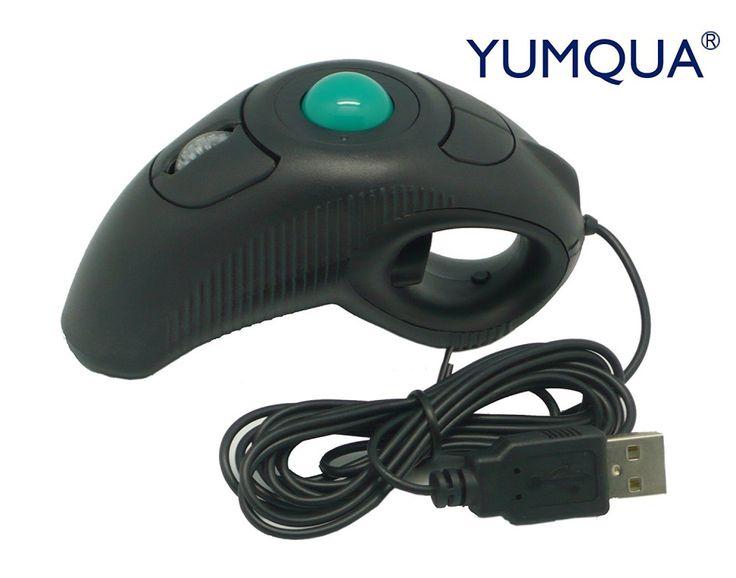 YUMQUA Y-10 Portable Finger Handheld 4D Wired USB Trackball Mouse for Left/ Righ #YUMQUA