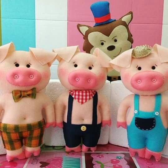 Três porquinhos feltro