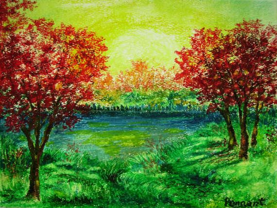 Autumn Landscape Small Drawing Original Oil Pastel By