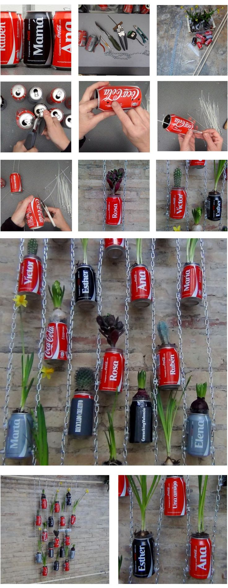 """Vertical garden made with recycled Coca Cola Cans! http://youtu.be/y2vtEBjvE50 [symple_toggle title=""""More Information"""" state=""""closed""""] Website: Reciclado Creativo - The Reuse Factory ! Submitted by: Rosa Montesa ! [/symple_toggle]"""