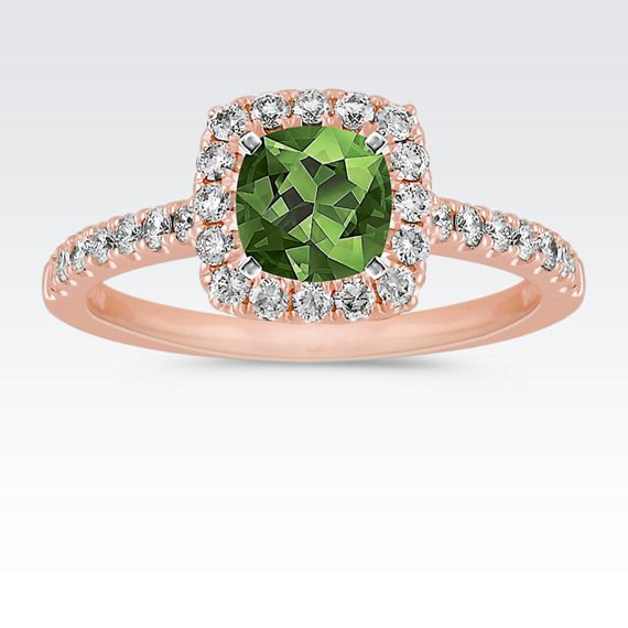 Pav Set Halo Engagement Ring In Rose Gold With Cushion Cut Green Sapphire From Shane Co
