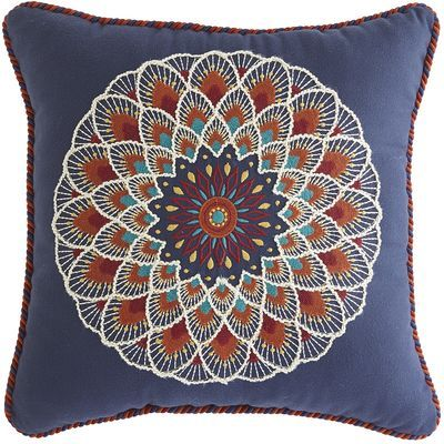 Our suzani-style embroidered pillow may have a hypnotic pattern, but it's all about comfort. This soft, cuddle-worthy pillow is plumped with polyester fill and finished with a corded edge. Plus, it's specially treated to be UV-resistant so you can snuggle on the sofa or the porch swing.