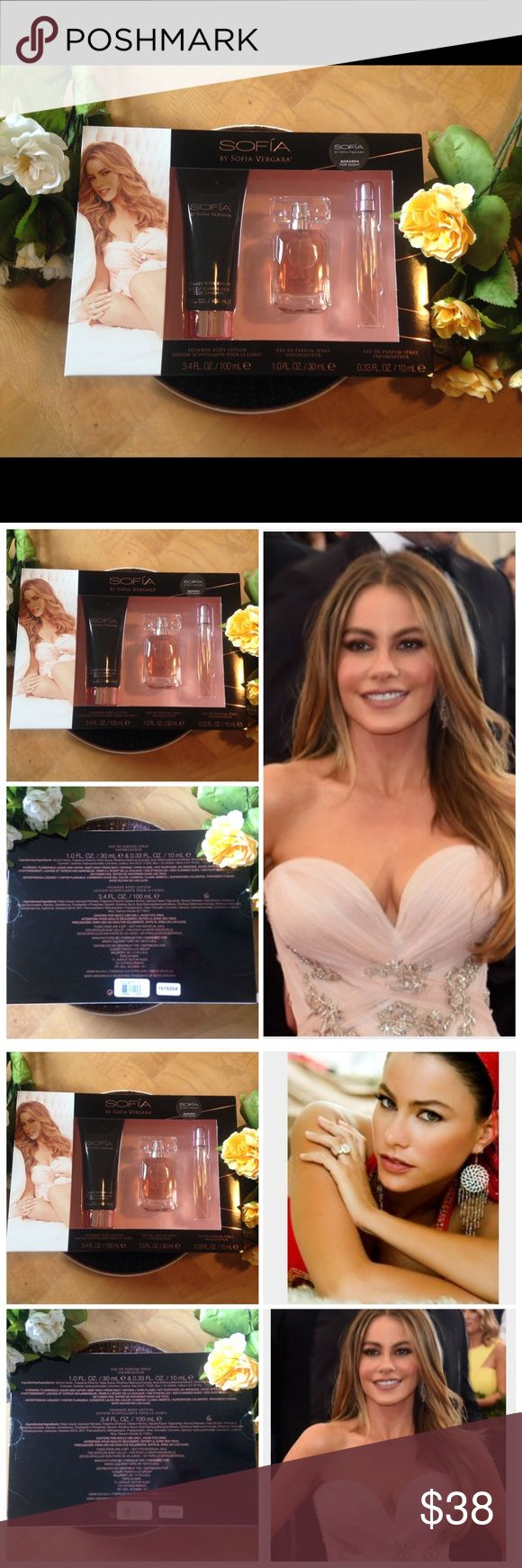 SALE‼️🌹Sofia🌹 By Sofia Vergara 3pc Set🌹😍💃 🌹Sofia by Sofia Vergara🌹3pc. Set❤️ 🌿3.4 Fl. Oz/100 mL Shimmer Body Lotion🌿 Eau De Parfum Spray🌿 1.0 Fl. Oz./30mL🌿 Eau De Parfum Spray🌿0.33 Fl. Oz./10mL ( ❤️Perfect for bringing in your purse❤️).  Scent is absolutely heavenly👼!!!:) 💕Passionately constructed fragrance that possesses a blend of Blackberry, Sparkling Cassis Buds, Plum, Purple Violet, Columbian Rose, Columbian Orchid, Earthy Woods, Vanilla, & Sandalwood.💕 Brand New in Box…