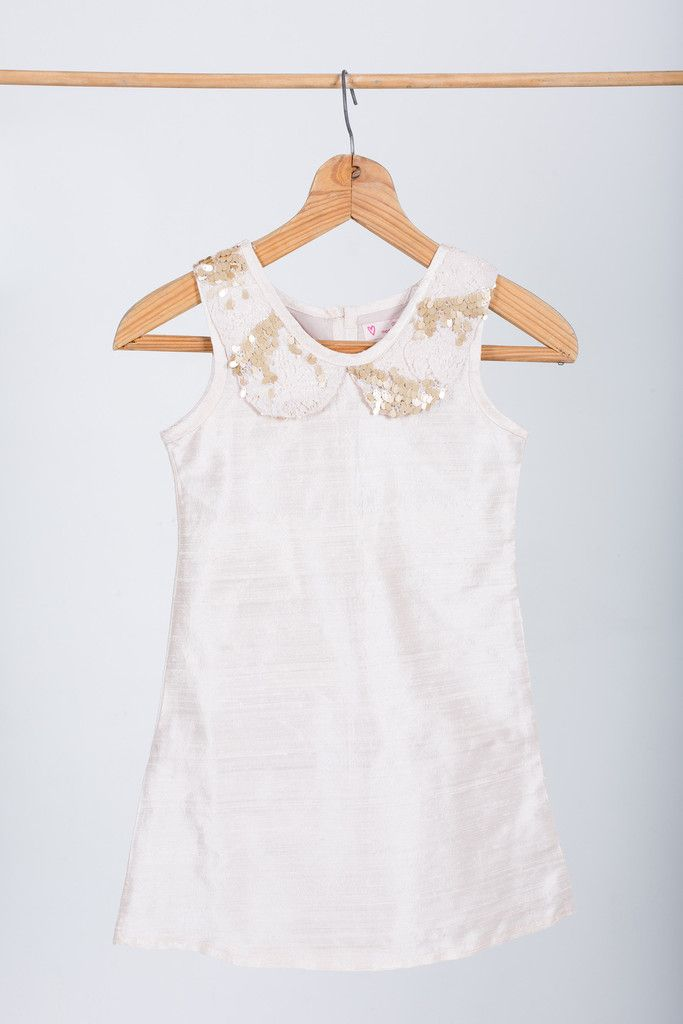 """Flower girl dress: """"Bijou"""" made by GHAM. Price: R899. A dusty pink 100% raw silk slip dress. Lined with 100% cotton. Matt gold sequin lace collar. Cape Town, South Africa."""