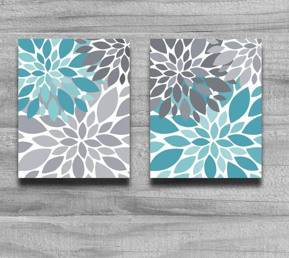 Turquoise Gray Flower Burst Print Set Home Decor or Nursery Silhouette 8x10 11x14 5x7 Wall Art