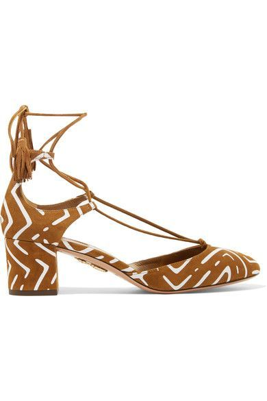 Heel measures approximately 50mm/ 2 inches Tan suede Ties at ankle Designer color: Cognac Made in Italy