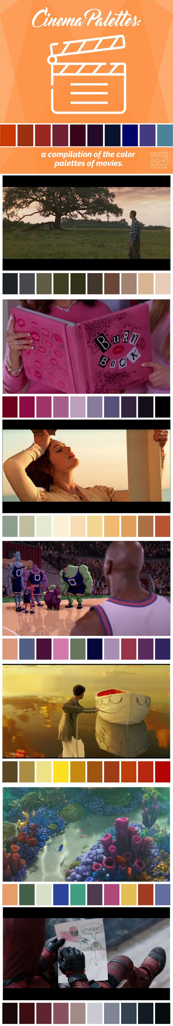 If you're a movie buff, you've probably fallen in love with the tonalities of a movie. And, like the soundtrack or lighting, the predominant colors of a film are also cared for in detail. This is the project initiated by the student Gaby Smith on Twitter called Cinema Palettes. Enjoy some samples of her work. - https://www.facebook.com/DESIGNGBR/ - #Movies #Colors #Palette #Cinema #Pantone #RGB #CMYK #Design #Titanic #ForrestGump #MeanGirls #LifeOfPi #Deadpool #FindingNemo #SocialMedia