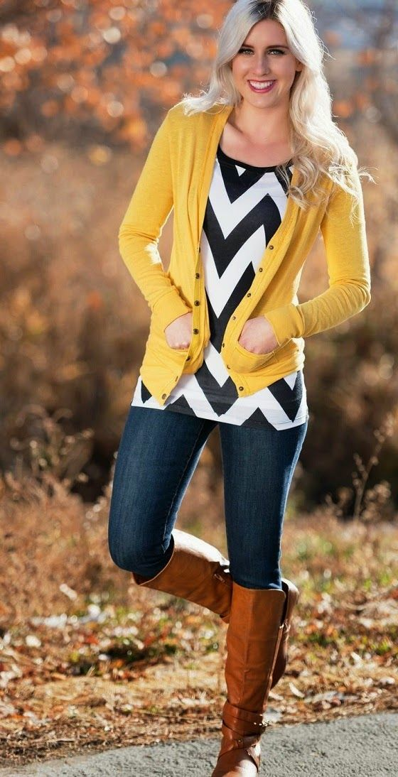 MODE THE WORLD: Chevron Top with Mustard Cardigan