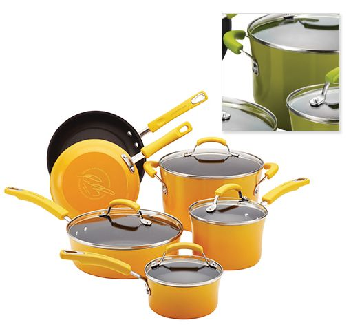 Rachael Ray 10-Piece Porcelain Enamel Cookware with Yellow