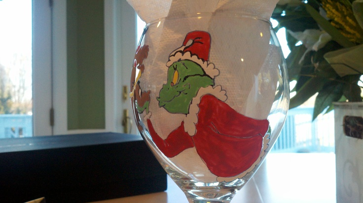 RESERVED FOR COLEEN wine grinch that stole christmas by Deziray, $25.00