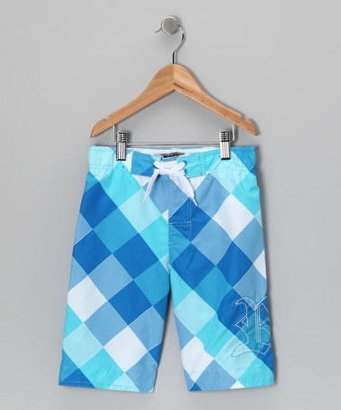 Take a look at this Light Blue Plaid Swim Trunks - Toddler & Boys by Soul & Glory on #zulily today!