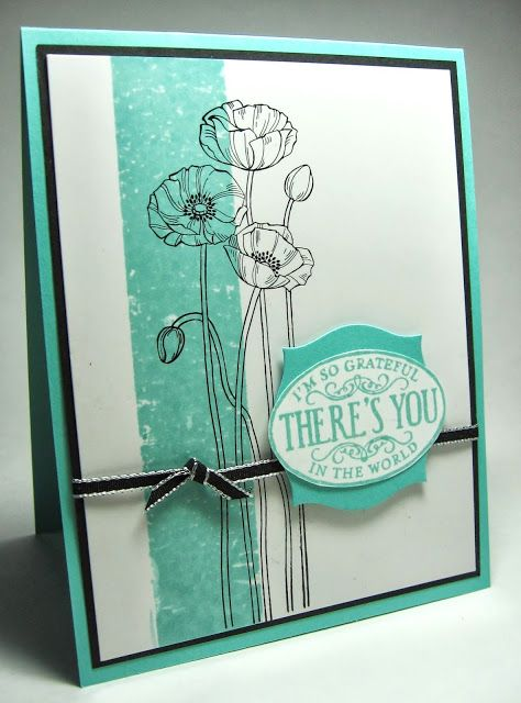 Pleasant Poppies and Chalk Talk sentiment. Colors are Coastal Cabana, blk & white. masking tape card