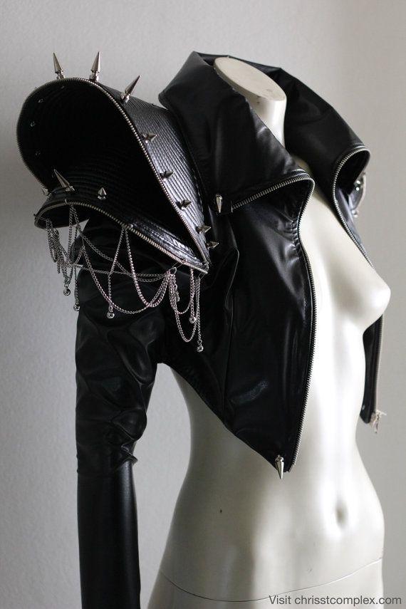 Biker veste Goth Gothic Punk goujons chaînes pointes cuir ette Zipper franges Fashion Jacket Lady Gaga - prix spécial de ETSY Chrisst